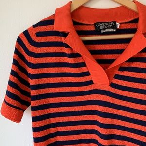 vintage givenchy striped knit polo shirt 80s 70s